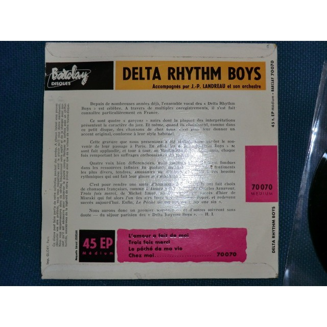 DELTA RHYTHM BOYS (The) L'amour à fait de moi + 3 (rare original French EP - 1957 - Fleepback cover - BIEM)