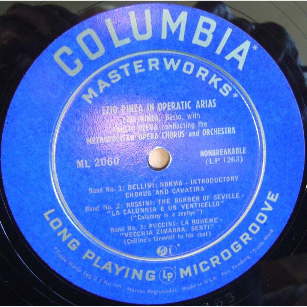 EZIO PINZA EZIO PINZA In Operatic Arias Bellini Rossini Puccini Verdi Baccanegra Halevy USA COLUMBIA ML 2060 NM