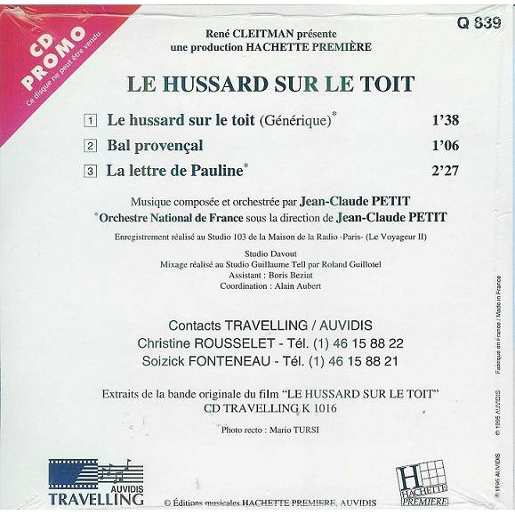 Le Hussard Sur Le Toit bande originale du film avec juliette binoche / cd promo cellophané / superbe collector