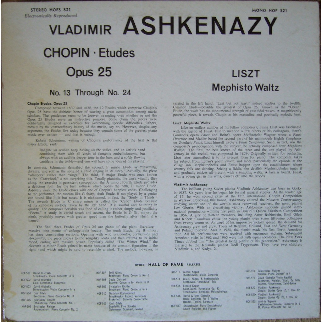Chopin etudes op 25, liszt mephisto waltz usa hall of fame hofs 521 ex by  Vladimir Ashkenazy, LP with rarervnarodru