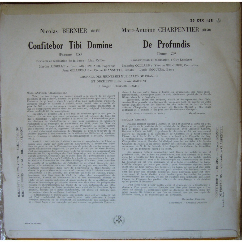 LOUIS MARTINI Bernier Confitebor Tibi Domine, Charpentier De Profundis FRANCE PATHE DTX 158 NM
