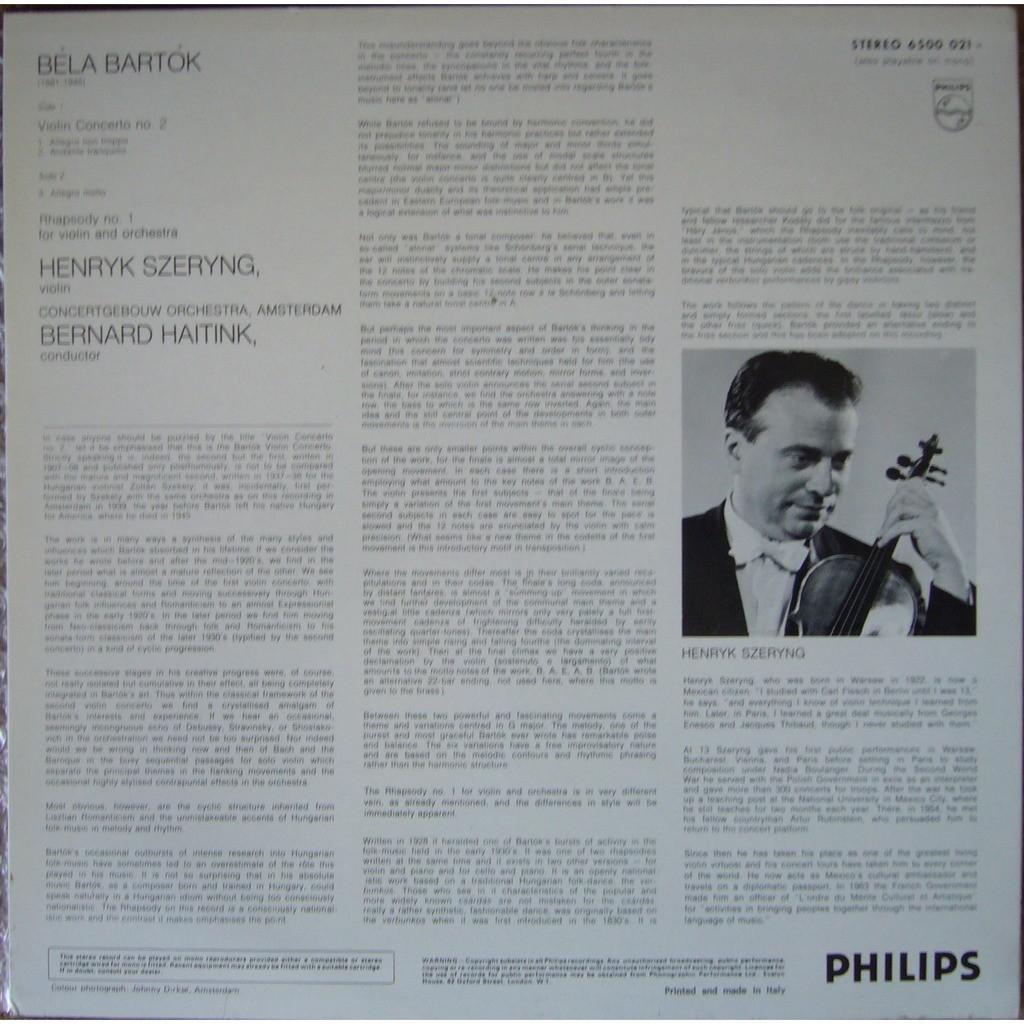 HENRYK SZERYNG Bartok Violin Concerto 2, Rhapsody 1 ITALY PHILIPS 6500 021 MINT