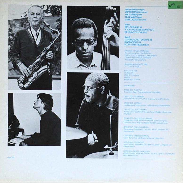 Chet Baker quintet featuring Warne Marsh Blues for areason
