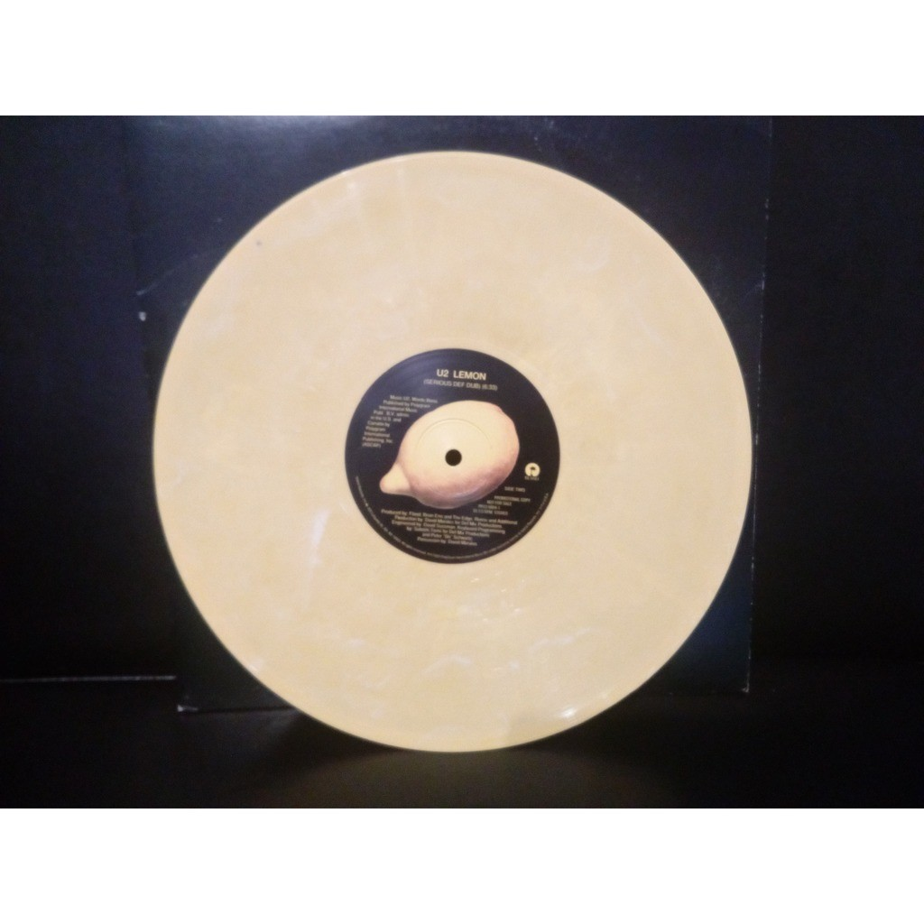 u2 Lemon (USA 1993 2-trk 10inch promo on Marbled YELLOW vinyl)