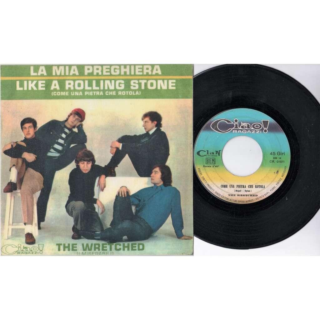 Wretched / Miserabili / Bob Dylan / Celentano La Mia Preghiera (Italian 1966 original issue 2-trk 7single unique 'plastificated' ps)