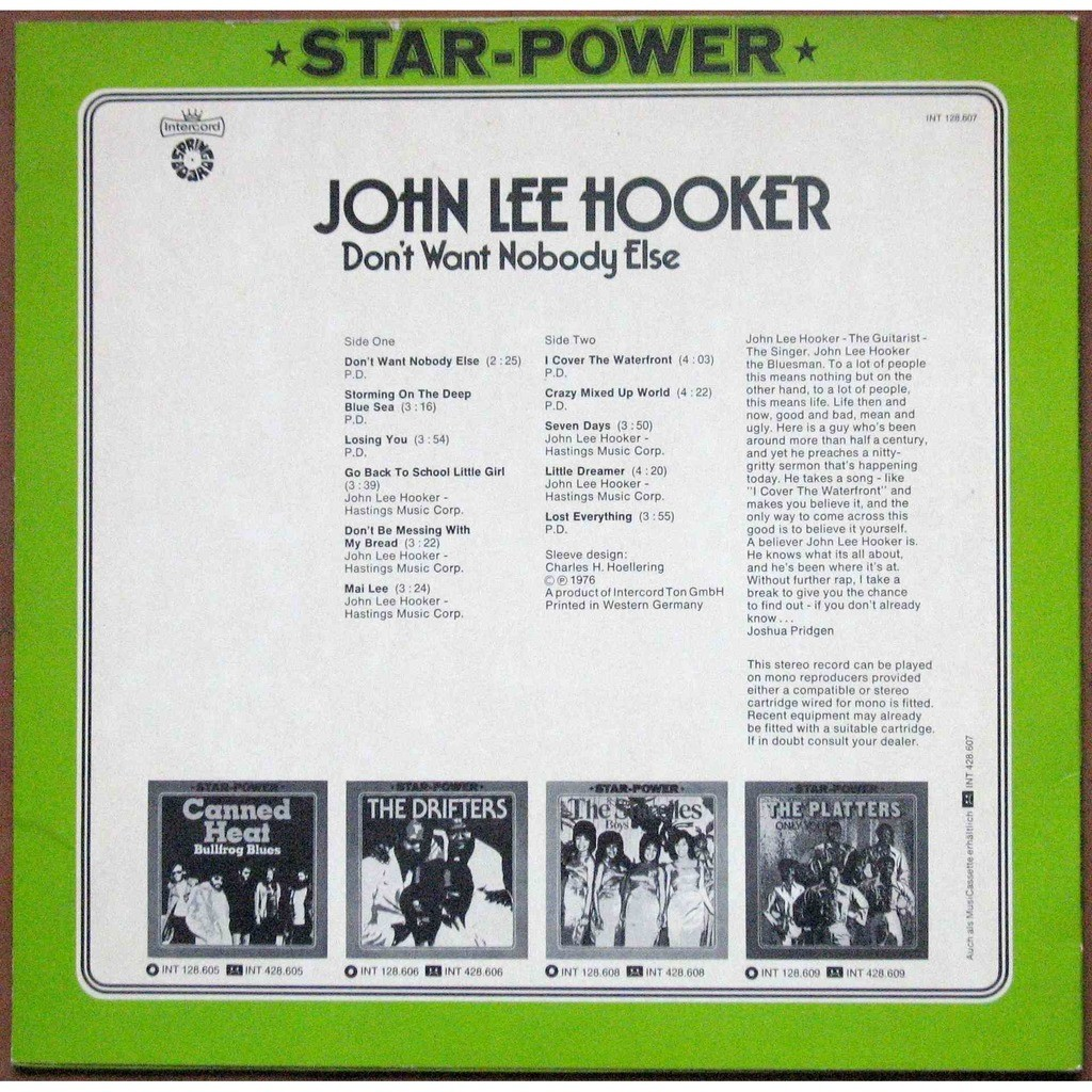 Dont Want Nobody Else By John Lee Hooker Lp With Atahualpa73 Ref