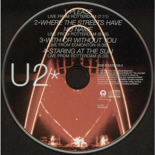 U2 Please-Popheart Live Ep (German 1997 Ltd 4-trk CD ep full ps)