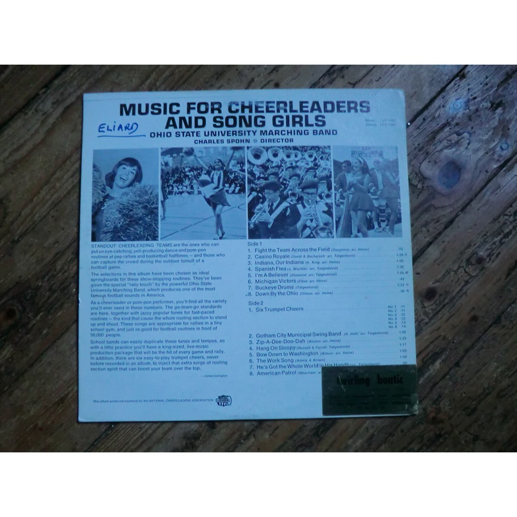 Music for cheerleaders & song girls (rare original usa press - late 1960s)  by Ohio State University Marching Band Charles Spohn, LP with froms