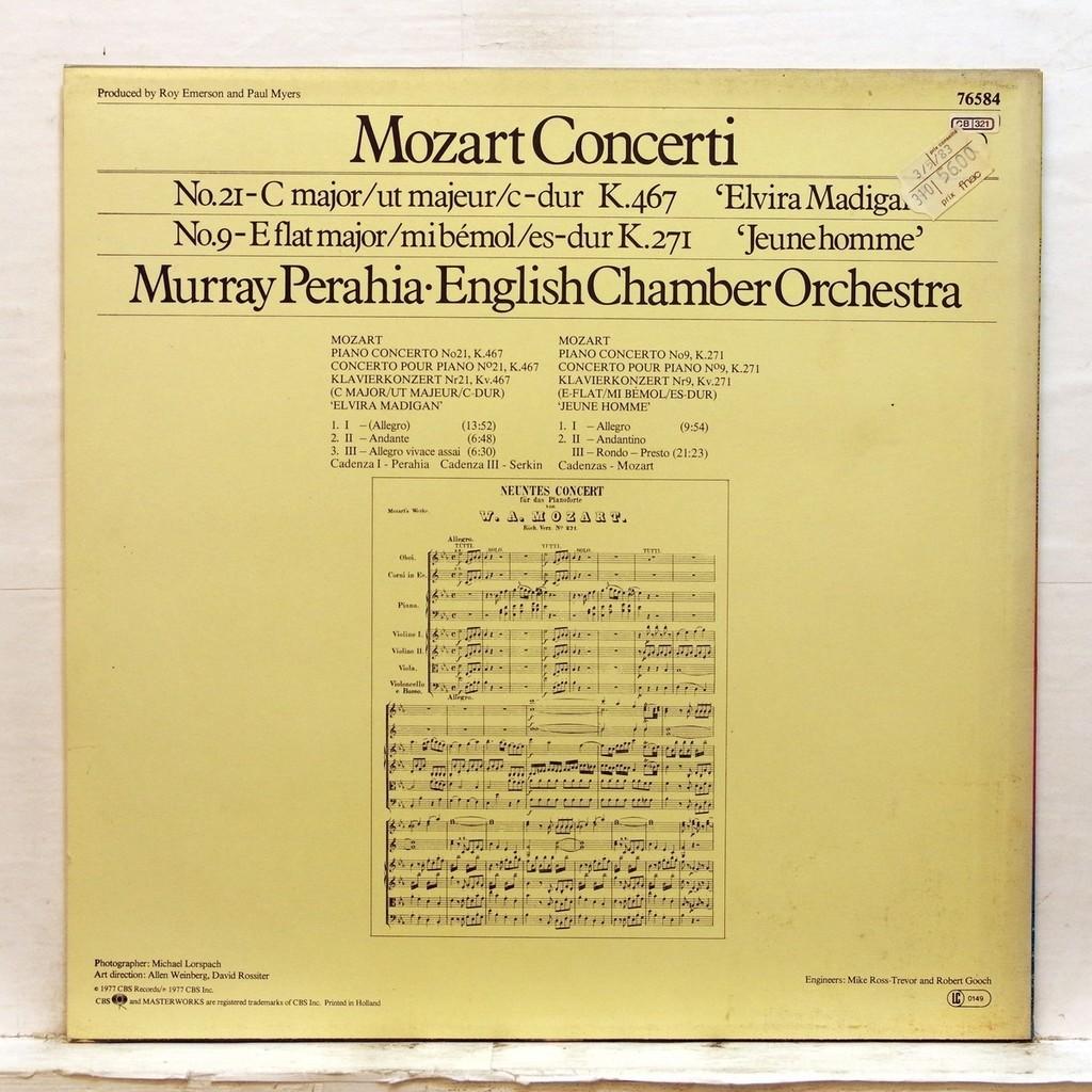 murray perahia Mozart : Piano Concertos nos.21 & 9