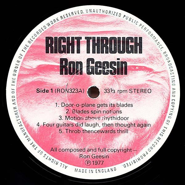 Ron Geesin Right Through
