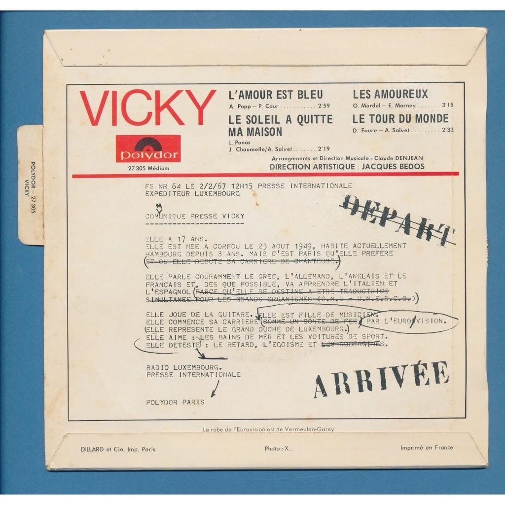 L\'amour est bleu - le soleil quitte la maison - les amoureux - le tour du  monde von Vicky Leandros, EP bei neil93