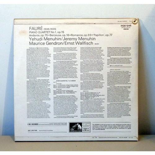 YEHUDI MENUHIN & MAURICE GENDRON FAURE Piano quartet n°1 & Pieces for cello & piano / Violin & piano