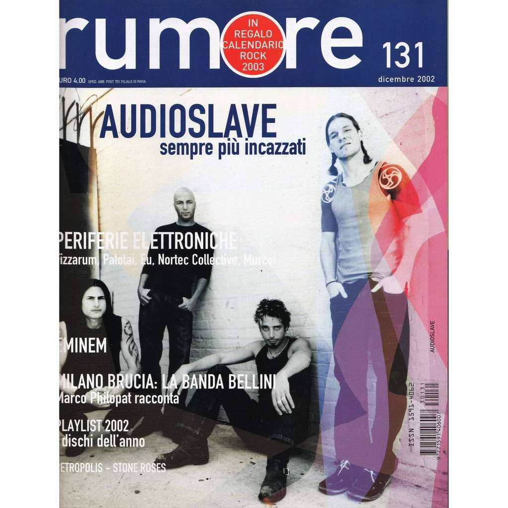 Soundgarden / Rage Against The Machine Audioslave Rumore (N.131 Dec. 2002) (Italian 2002 audioslave front cover magazine!!)