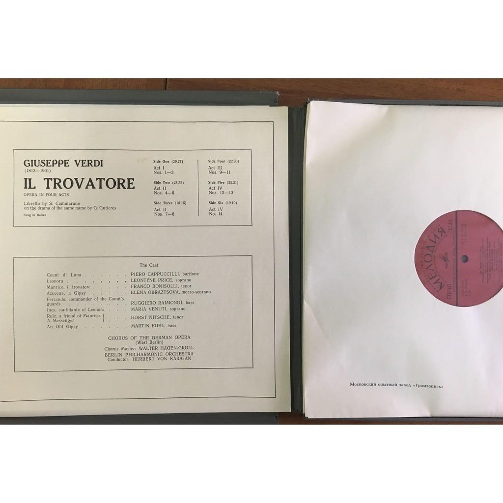 Herbert von Karajan, Conductor Il Trovatore Opera Price, Obraztsova, Bonisolli, Cappuccilli 3 LP Box Set
