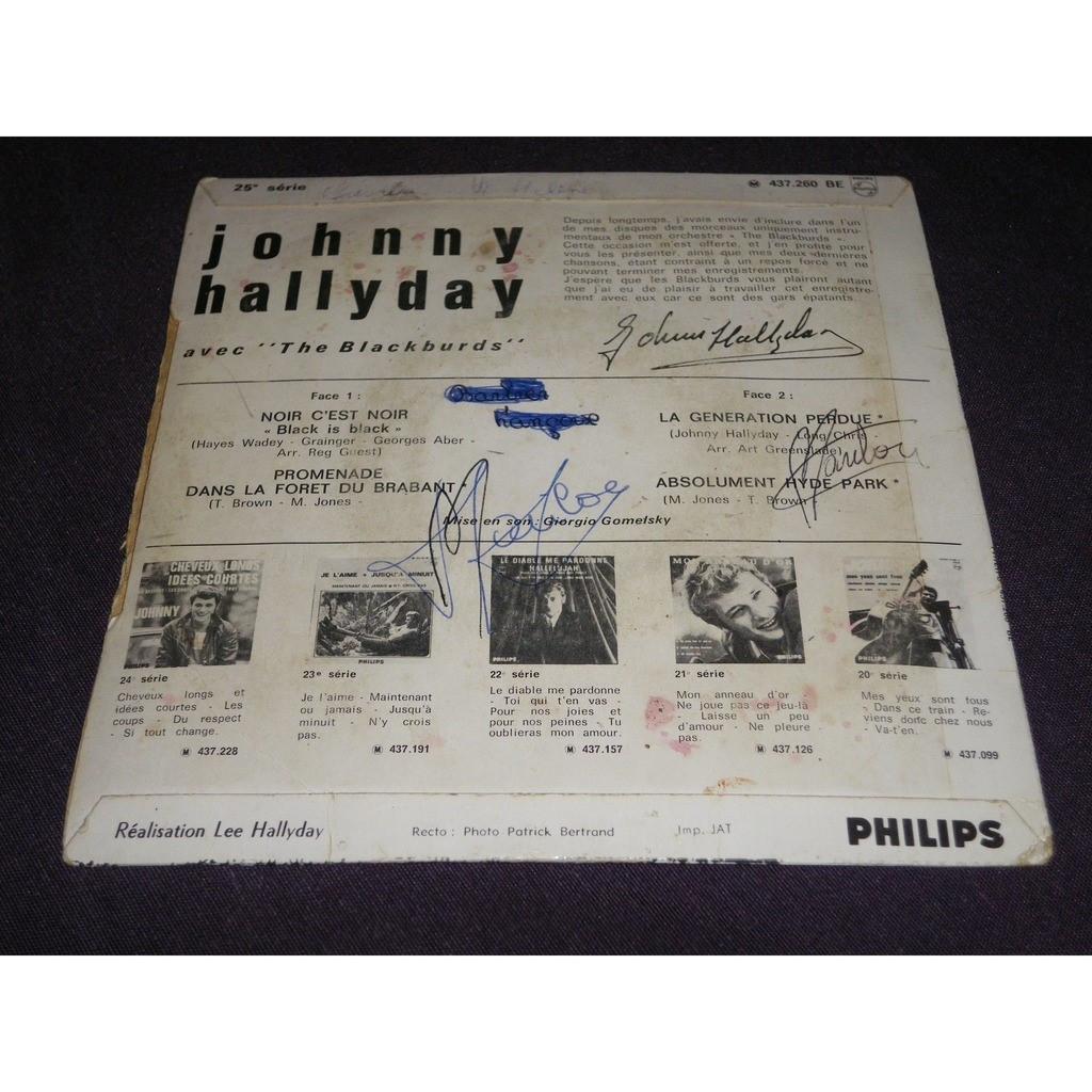 johnny hallyday Noir c'est noir/la génération perdue/promenade dans la forêt du braban/absolument hyde park