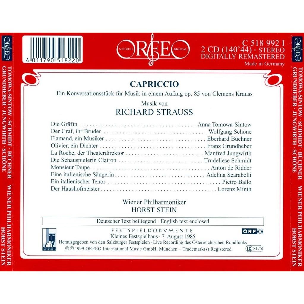 Krauss Der Stein capriccio horst stein by strauss richard cd x 2 with melomaan