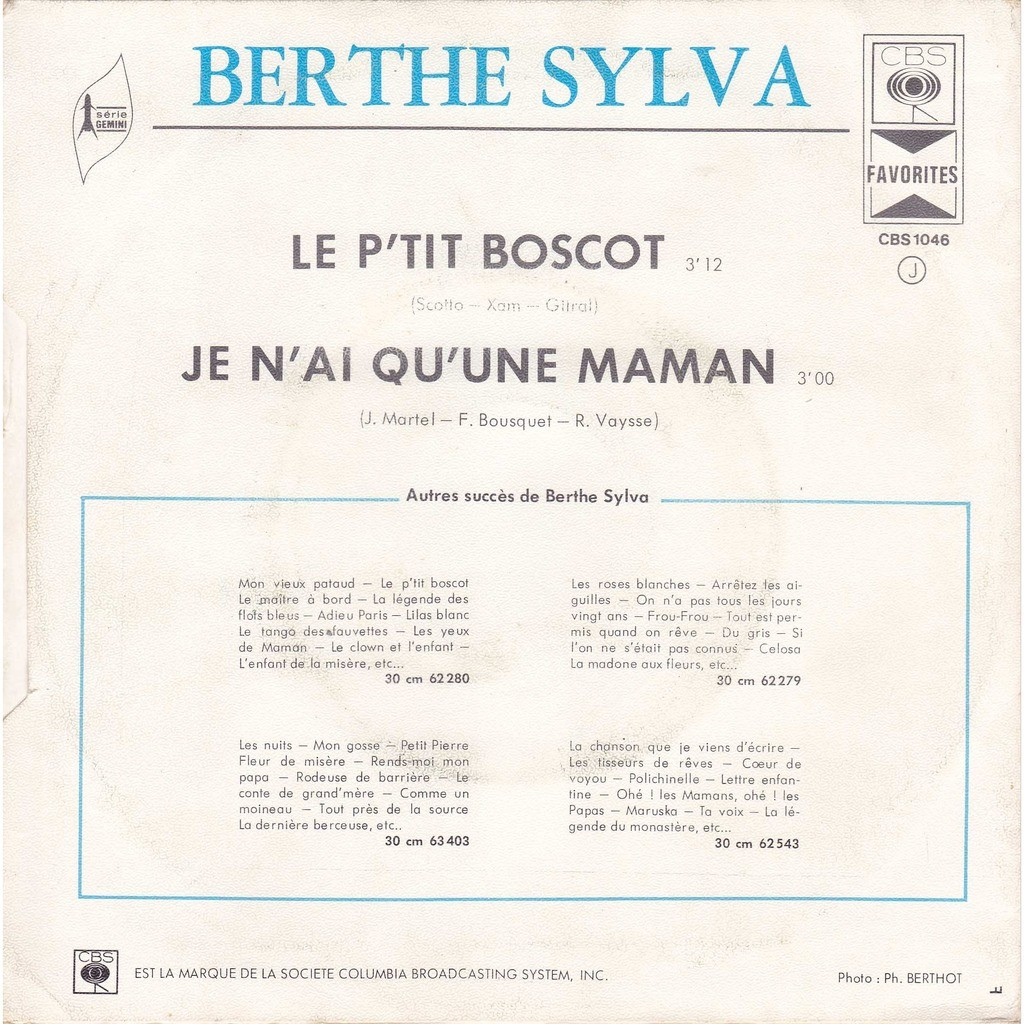 Le Ptit Bosco Je Nai Quune Maman De Berthe Sylva 45 Rpm Sp 2 Títulos Con Maziksound