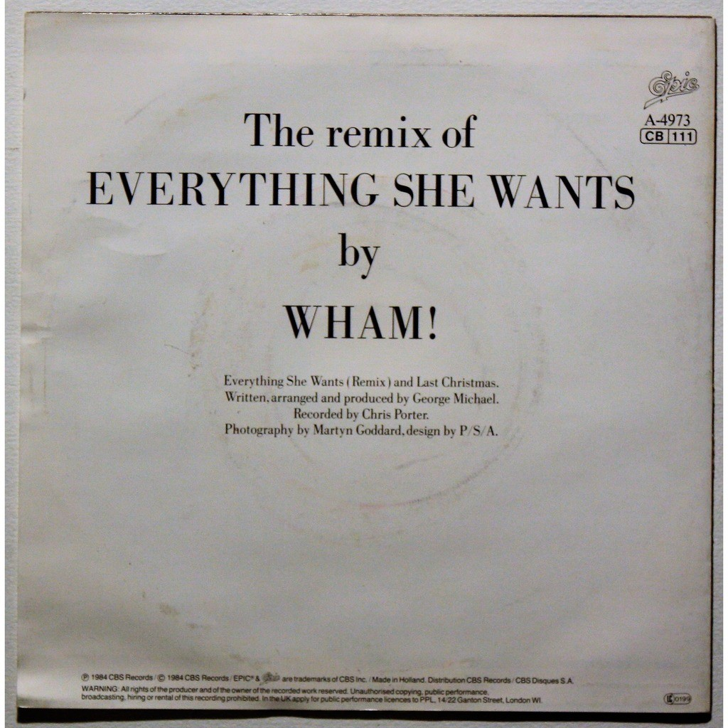 Everything She Wants Remix Last Christmas De Wham Sp