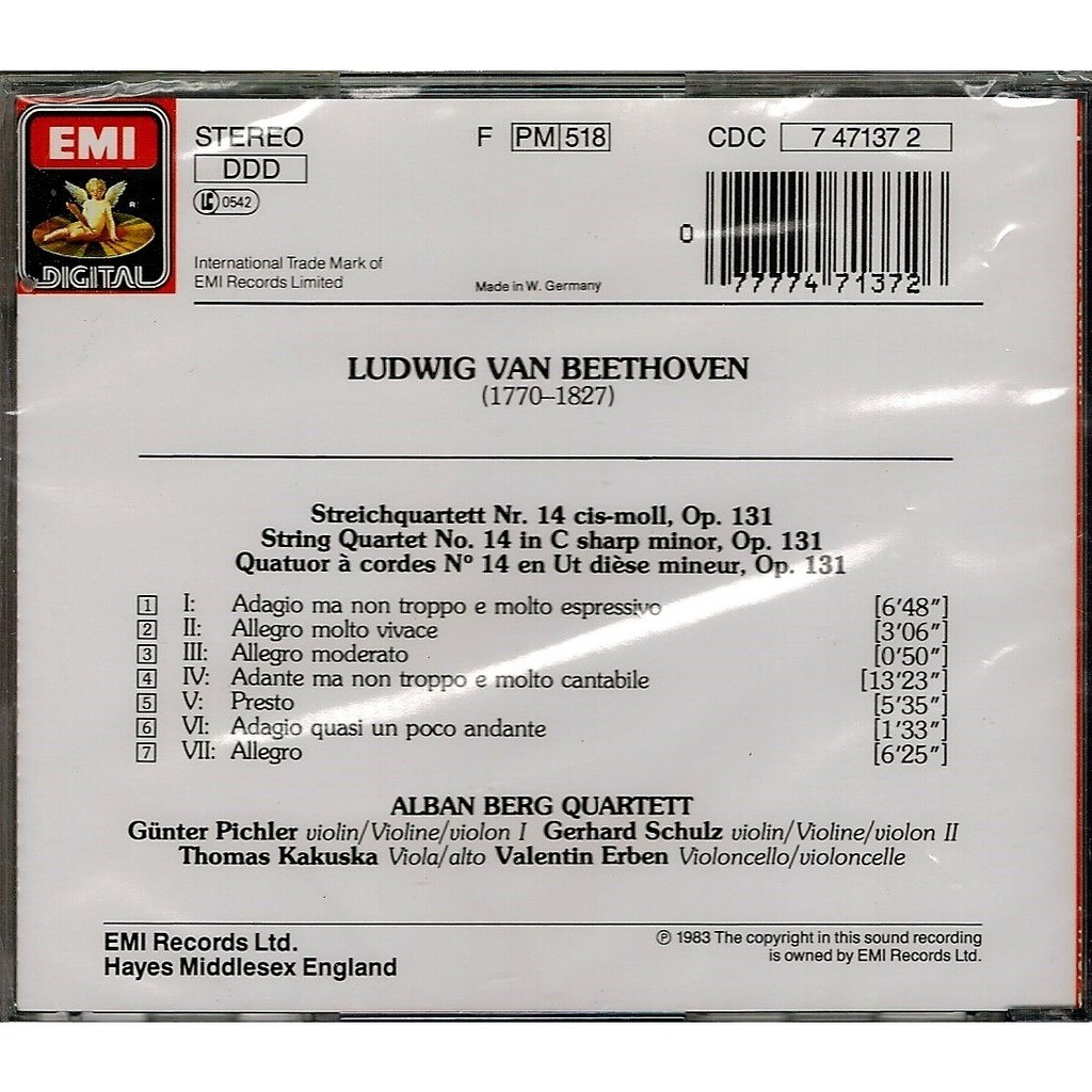 String quartet 14 / alban berg string quartet by Beethoven, Ludwig Van, CD  with melomaan