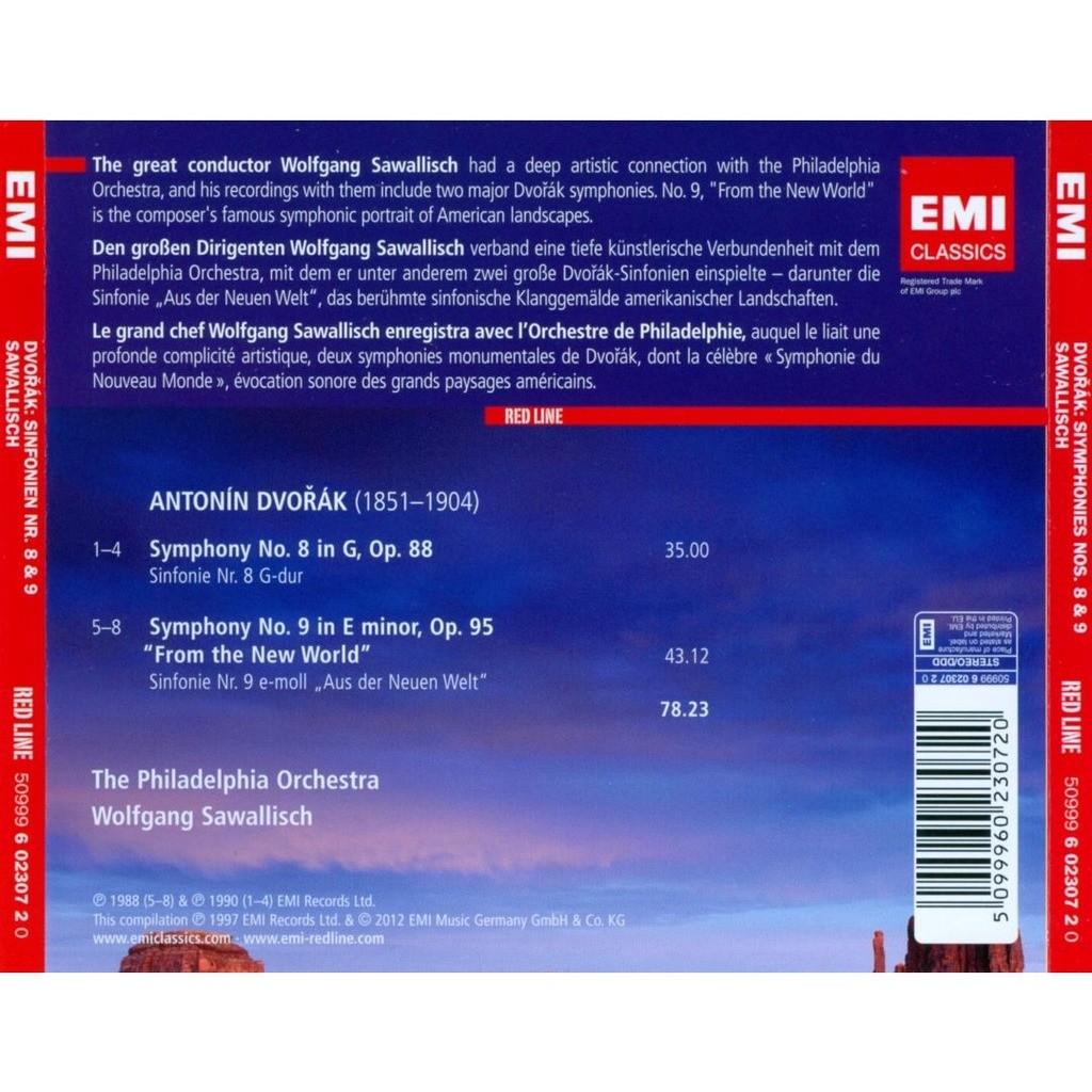 Symphonies nos  8 & 9 / wolfgang sawallisch, philadelphia orchestra by  Dvořák, Antonín, CD with melomaan