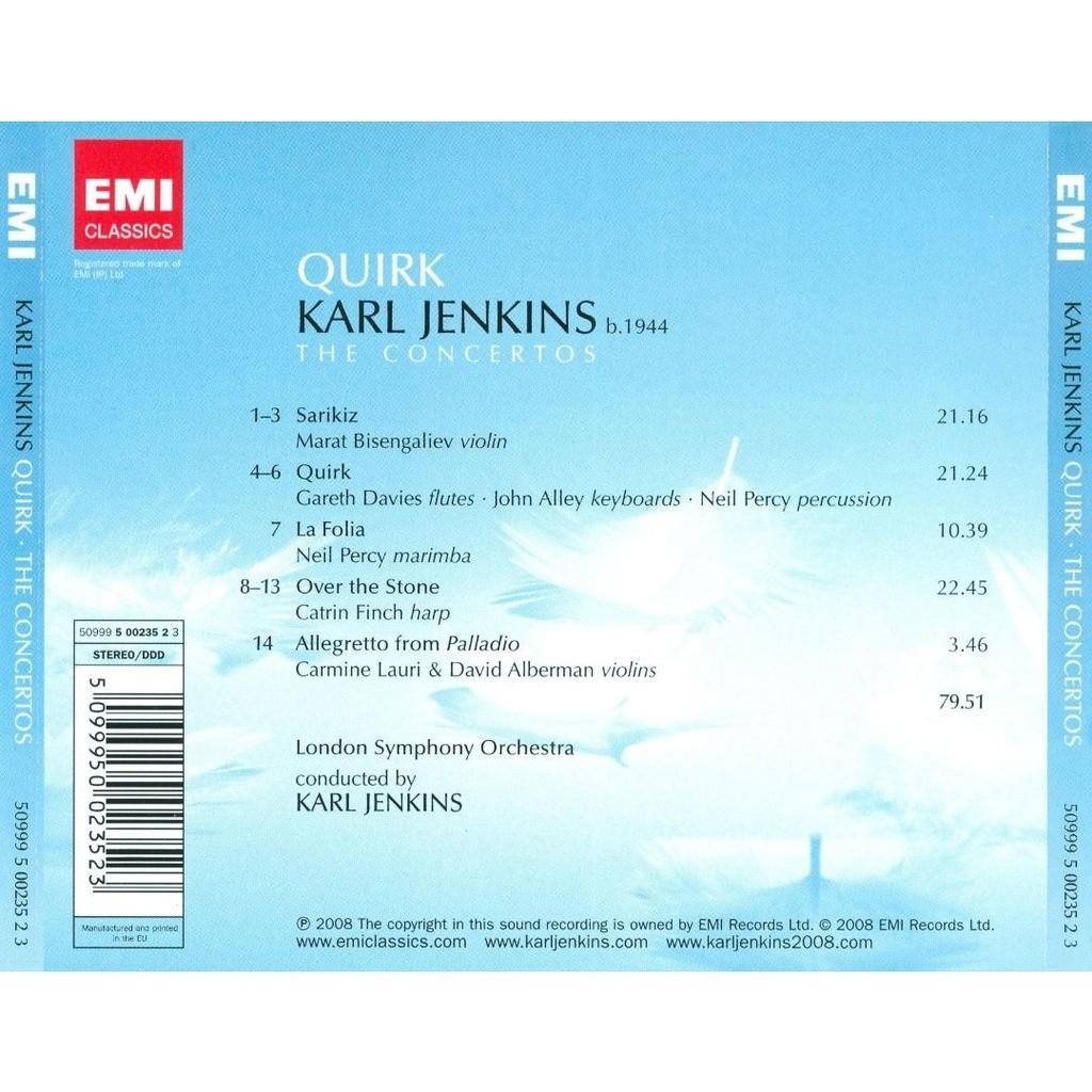 Quirk - the concertos / marat bisengaliev, karl jenkins, london symphony  orchestra de Jenkins, Karl (1944-), CD chez melomaan