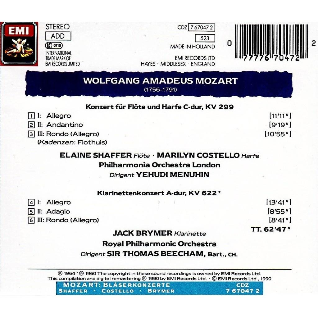 Mozart, Wolfgang Amadeus Concerto for Flute, Harp and Orchestra; Clarinet Concerto / Yehudi Menuhin, Thomas Beecham