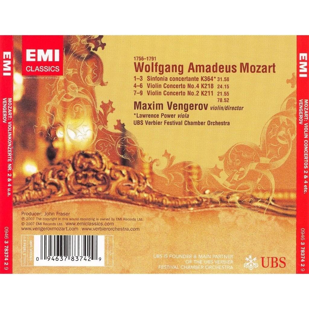 Mozart, Wolfgang Amadeus Violin Concertos 2 & 4; Etc / Maxim Vengerov, Lawrence Power, UBS Verbier Festival Orchestra