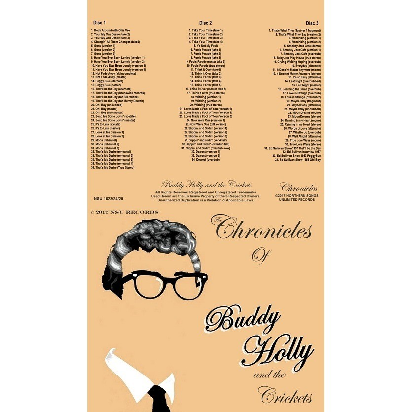 BUDDY HOLLY AND THE CRICKETS THE CHRONICLES OF BUDDY HOLLY and the CRICKETS LTD 3CD