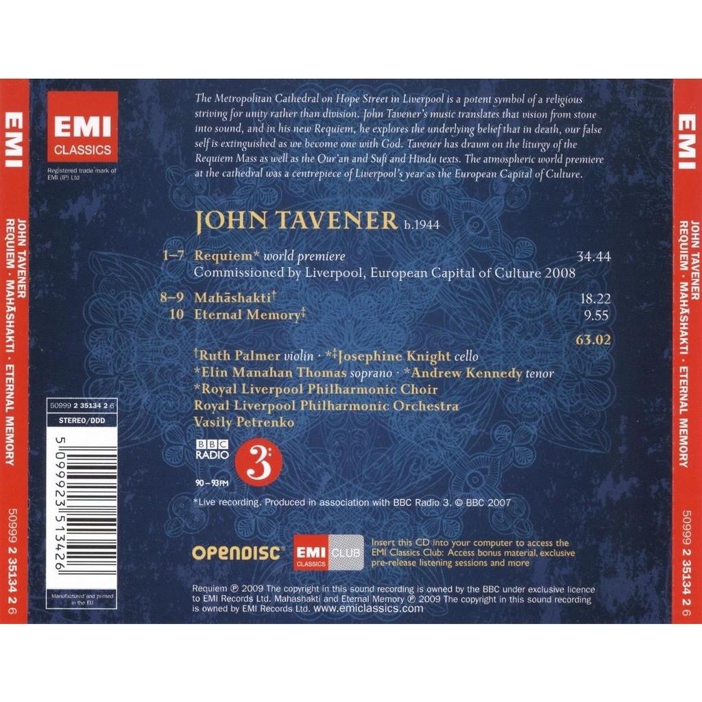 Tavener, John Requiem; Mahashakti; Eternal Memory / Vasily Petrenko, Royal Liverpool Philharmonic Orchestra