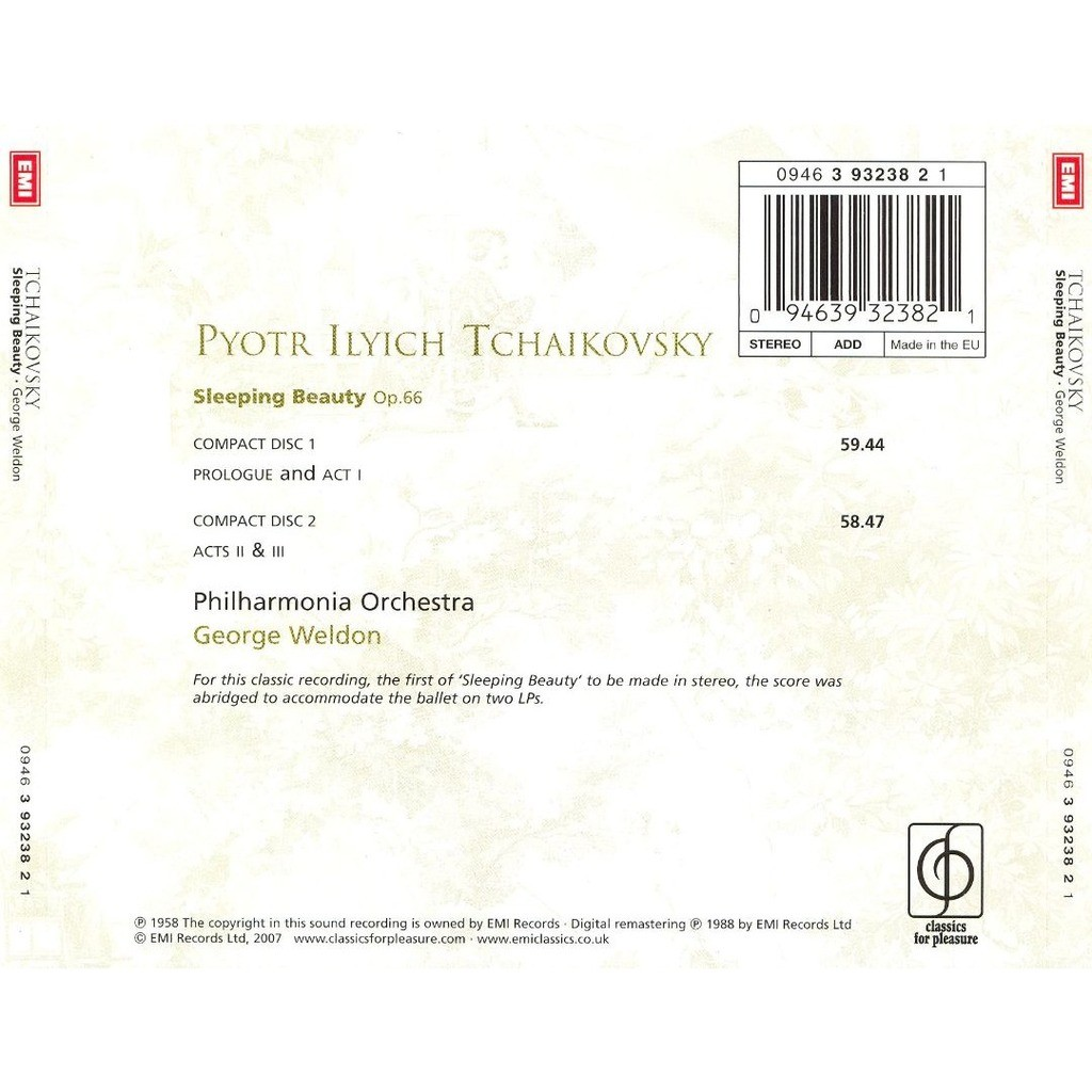 Tchaikovsky, Pyotr Ilyich Sleeping Beauty / George Weldon, Philharmonia Orchestra