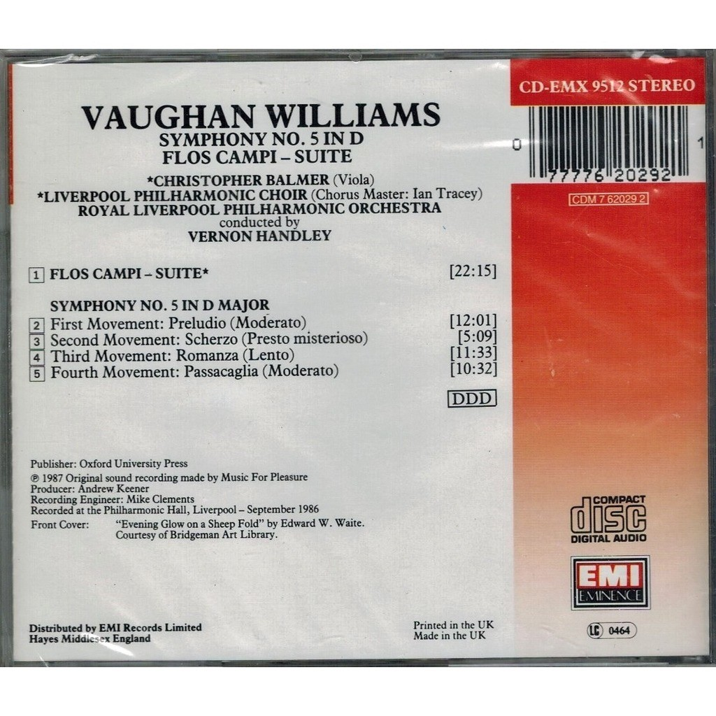 Vaughan Williams, Ralph Symphony No.5; Flos Campi / Vernon Handley, Royal Liverpool Philharmonic Orchestra