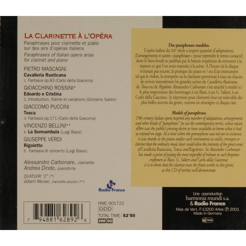La Clarinette Lopra Allessandro Carbonare Andrea Dindo By