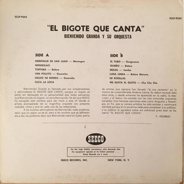 El Bigote Que Canta By Bienvenido Granda Con Orquesta Lp With