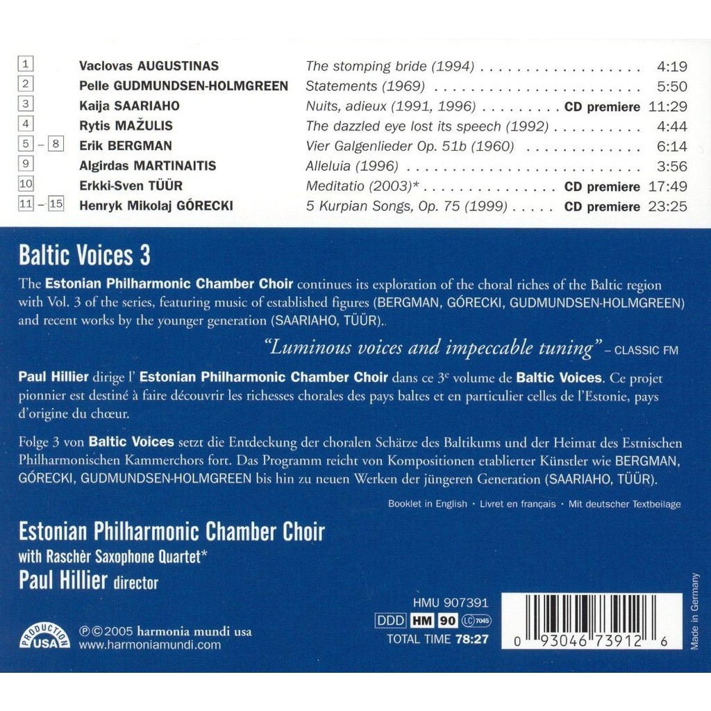 Baltic voices 3 / estonian philharmonic chamber choir, paul hillier de  Various Contemporary Composers, CD con melomaan