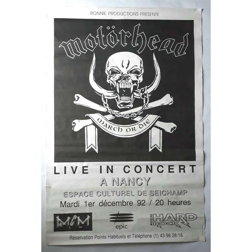 Affiche Concert march or die-live in concert à nancy 1/12/92-affiche-original-1992