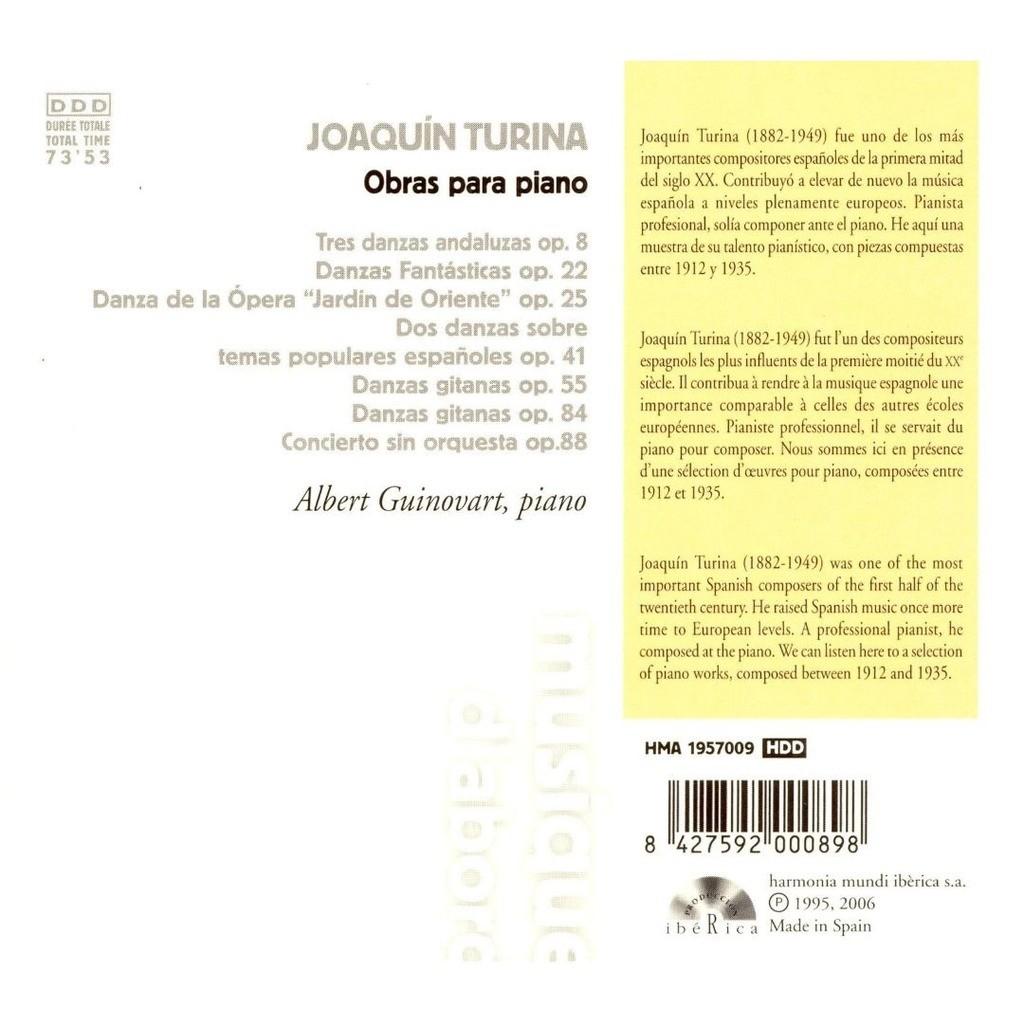 Turina, Joaquin Obras para piano / Albert Guinovart