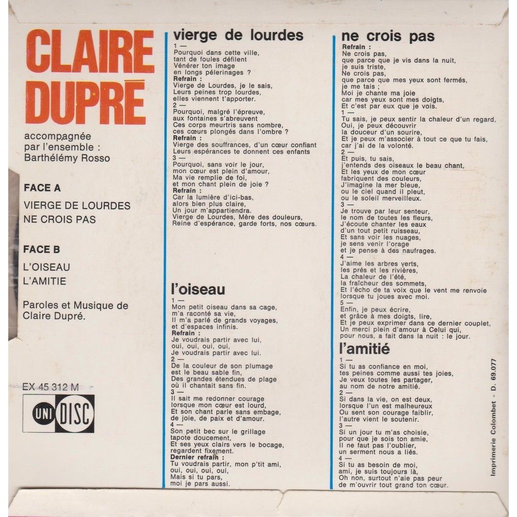 Vierge De Lourdes By Claire Dupre Ep With Prenaud Ref 119054855