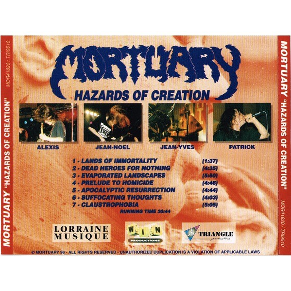 Mortuary Hazards Of Creation (cd)