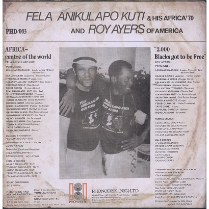FELA KUTI AND ROY AYERS music of many colours, LP for sale on