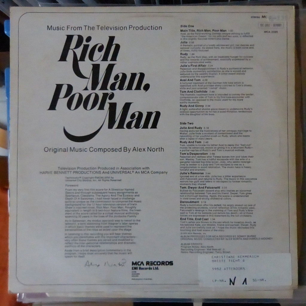 ALEX NORTH RICH MAN POOR MAN MUSIC FROM THE TV PRODUCTION