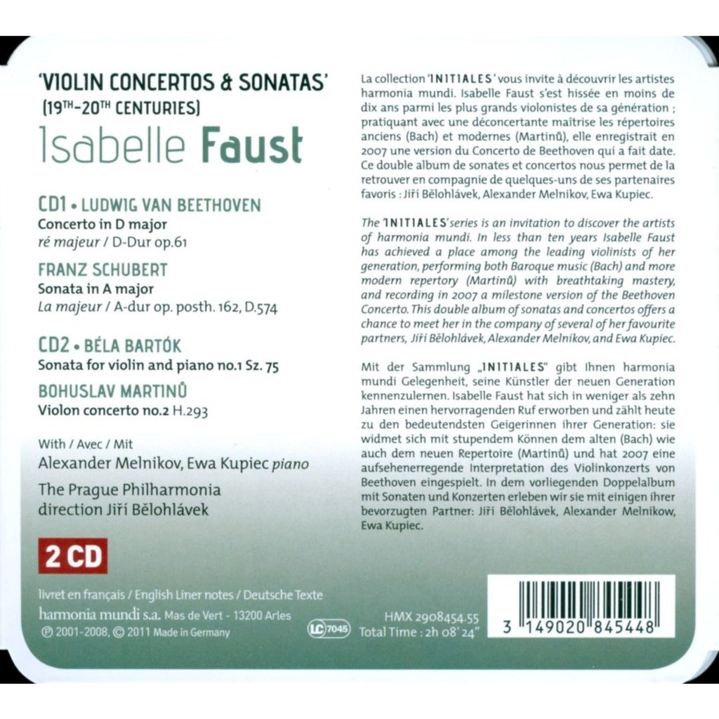 Beethoven / Schubert / Bartók / Martinů Violin Concertos & Sonatas / Isabelle Faust, Prague Philharmonic Orchestra, Jiří Bělohlávek