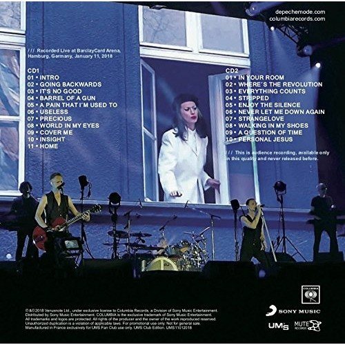 DEPECHE MODE Live at BarclayCard Arena Hamburg Germany 2018 Global Spirit Tour 2CD