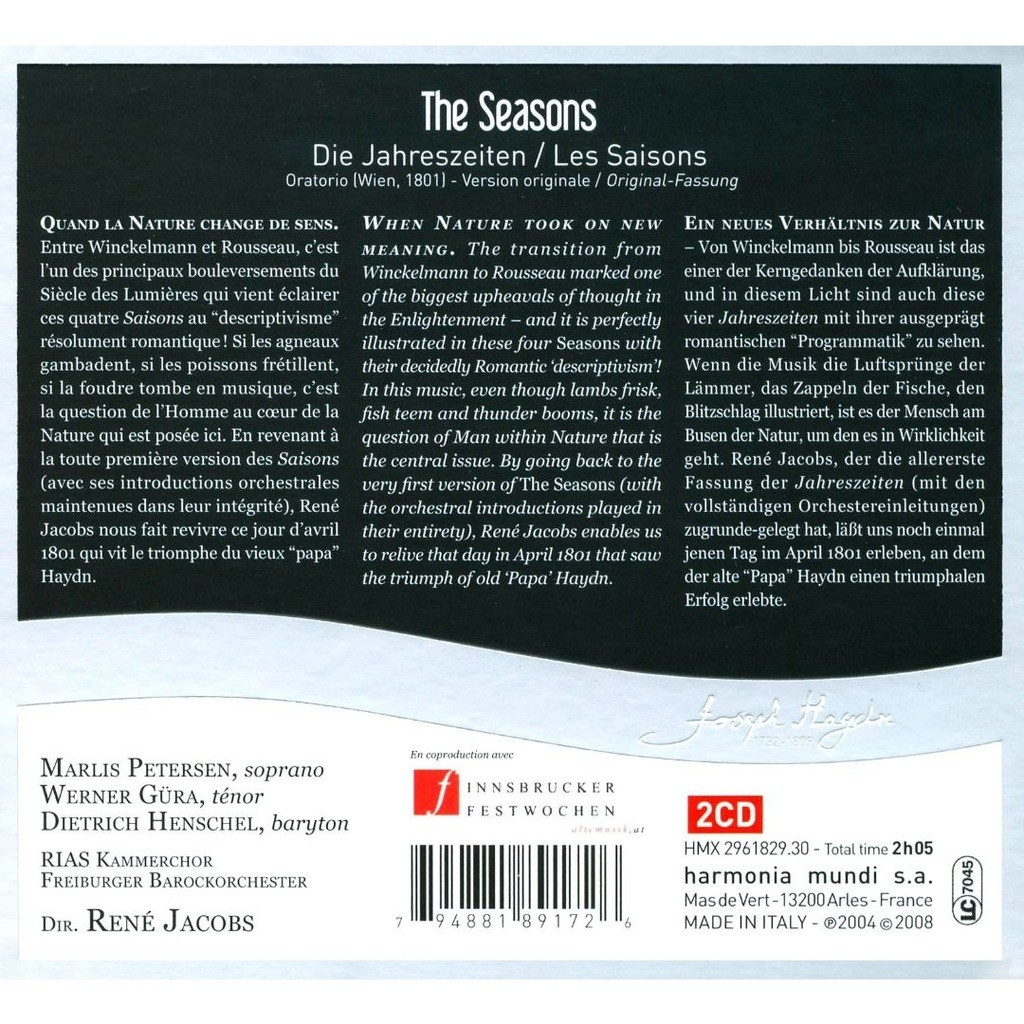 Haydn, Joseph The Seasons / Berlin RIAS Chamber Chorus, Freiburg Baroque Orchestra, René Jacobs