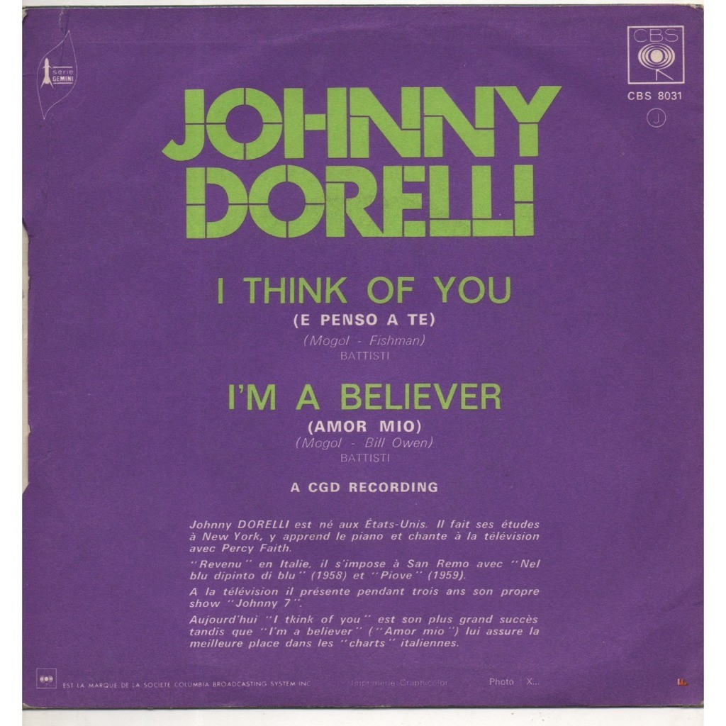 DORELLI JOHNNY i think of you ( e penso a te ) / i'm a believer ( amor mio ) ( france )