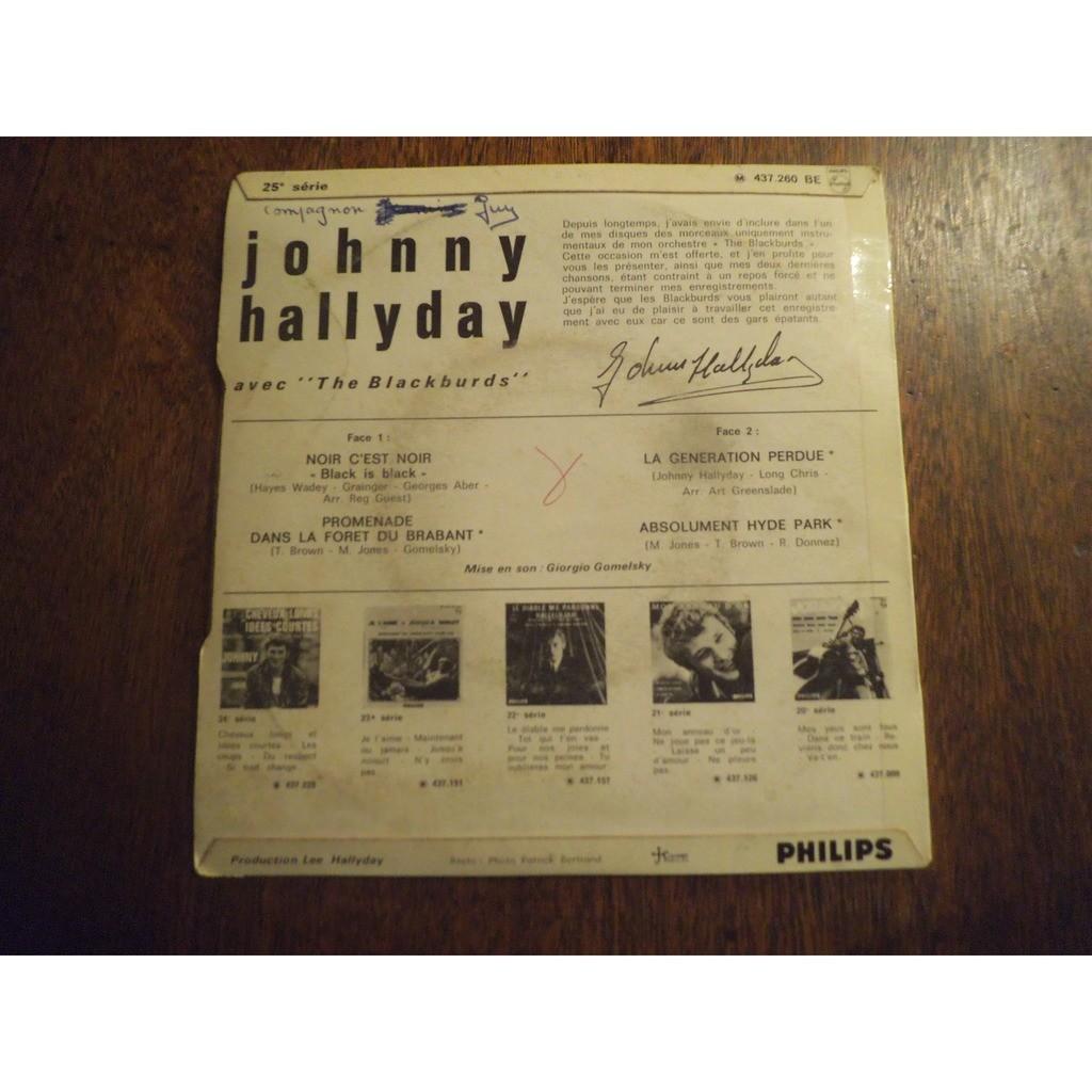 hallyday johnny noir c'est noir / promenade dans la foret du brabent / la generation perdue / absolument hyde park
