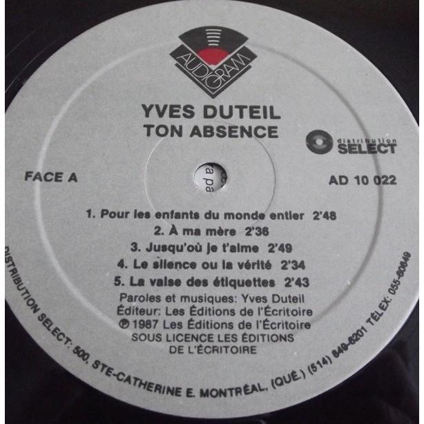 YVES DUTEIL TON ABSENCE - EDITION CANADA