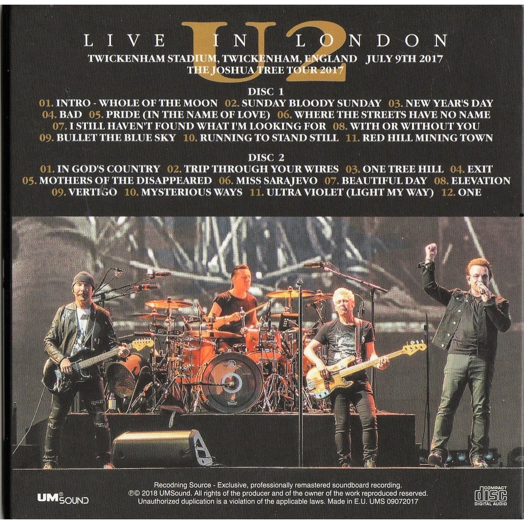 Live in london (twickenham stadium uk 09.07.2017) by U2, CD x 2 with ...