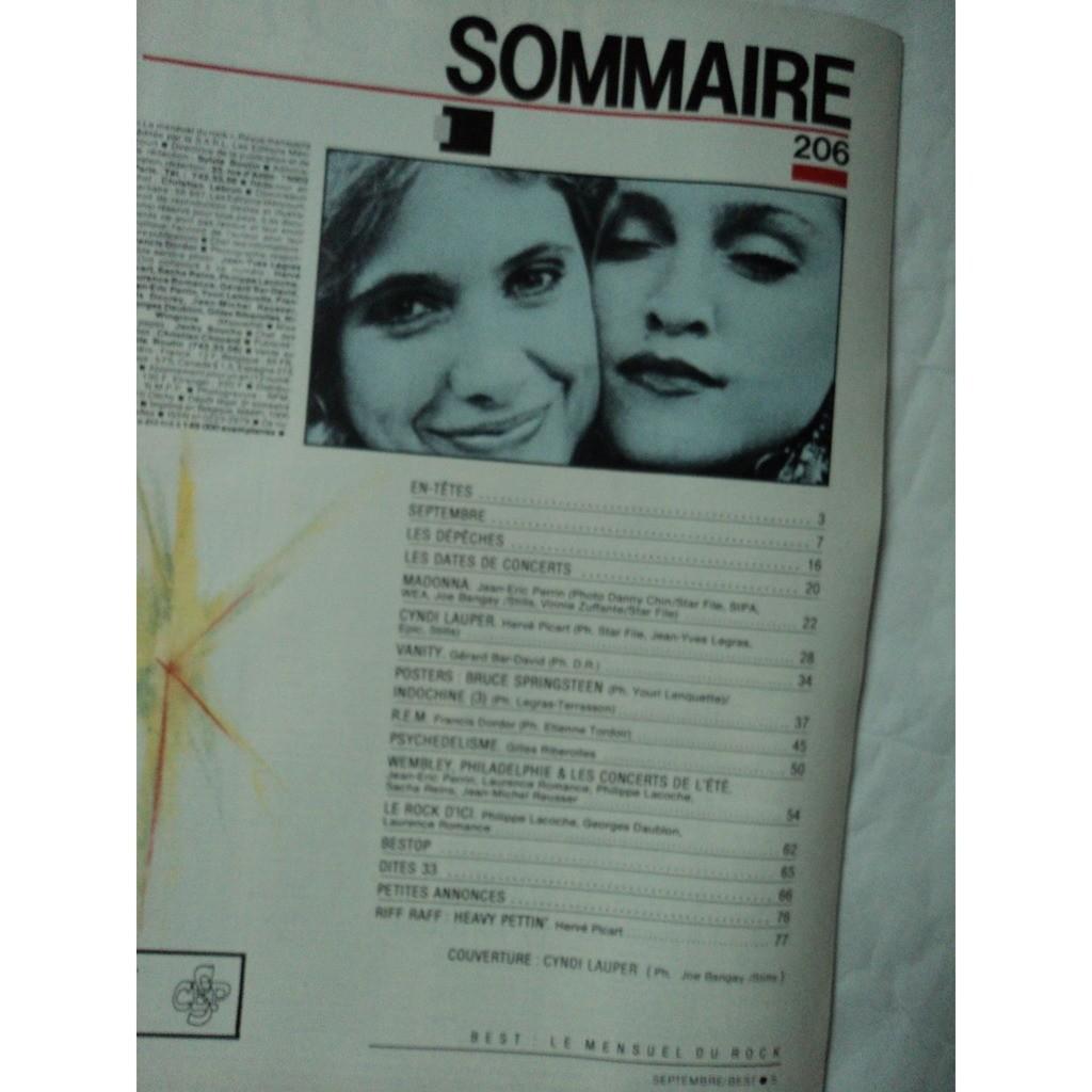 BEST MAGAZINE No 206 année 1985 CYNDY LAUPER /MADONA poster INDOCHINE / SPRINGTEEN (agrafé)