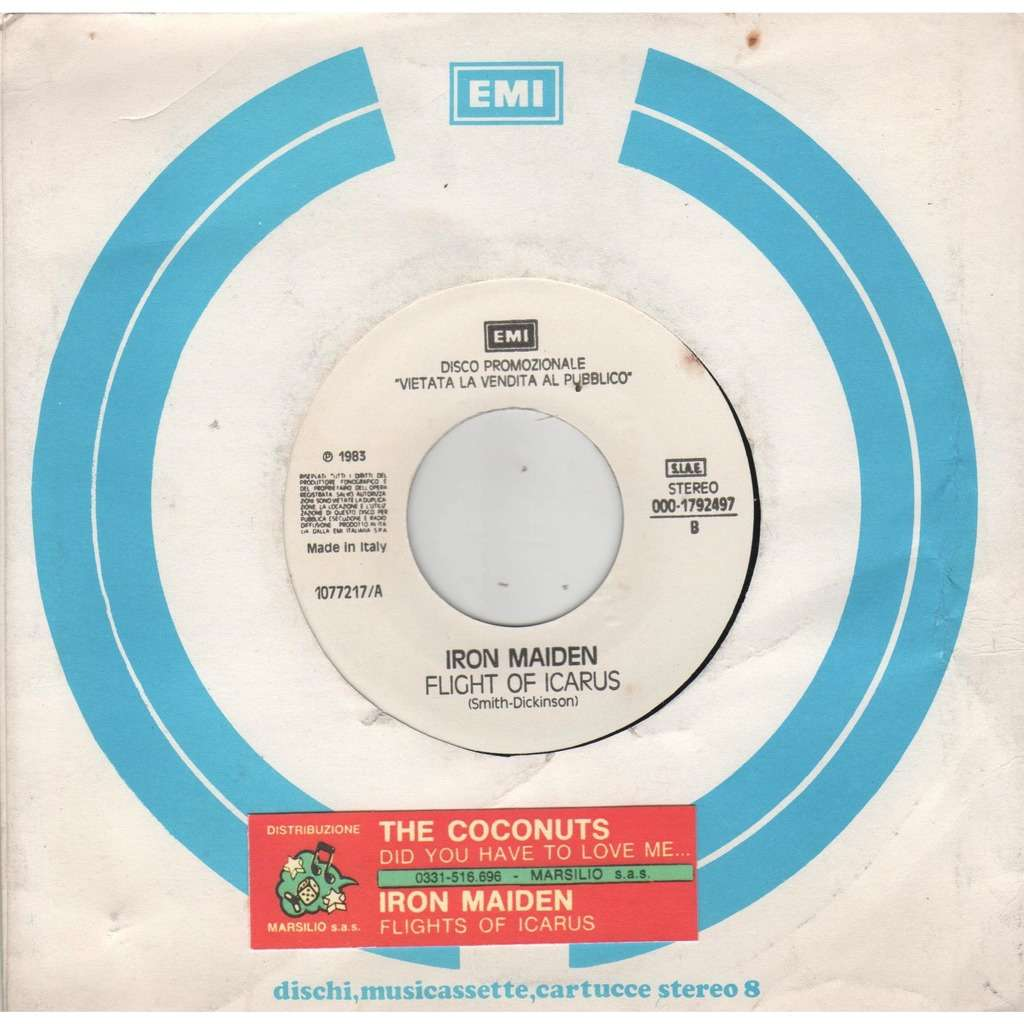 iron maiden Flight of Icarus (Italian 1983 1-trk w/label promo 7single title stickered EMI slv)