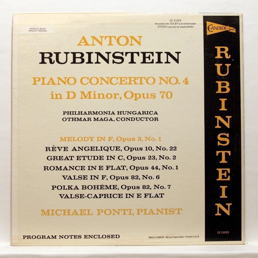 Anton rubinstein : piano concerto no 4 by Michael Ponti, LP with  elyseeclassic